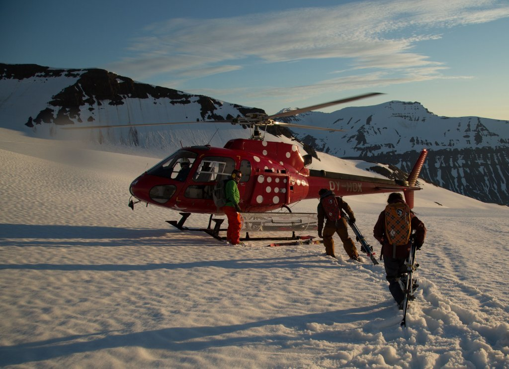 Heli Skiing in the Midnight Sun with Arctic Heli Skiing. ©Colleen Gentemann