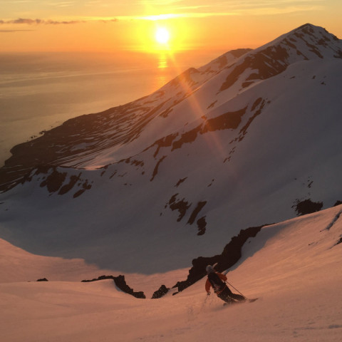 Skiing in the Midnight Sun with Arctic Heli Skiing