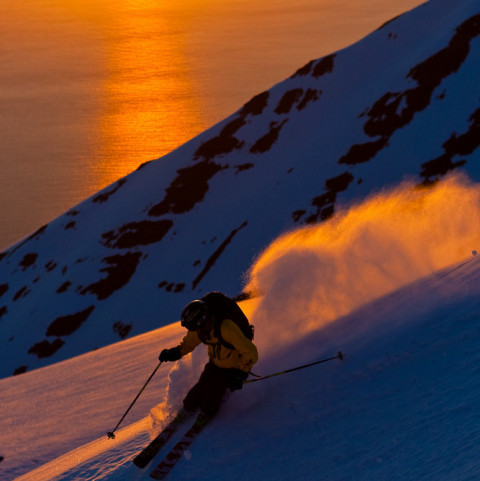 Heli Skiing in the Midnight Sun with Arctic Heli Skiing ©GrantGunderson