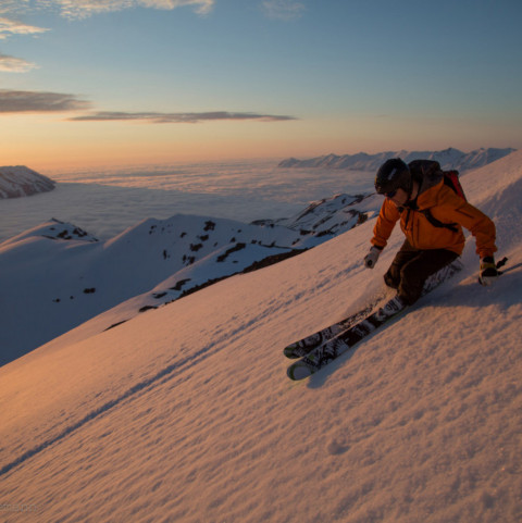 Heli Skiing in the Midnight Sun with Arctic Heli Skiing ©ColleenGentemann