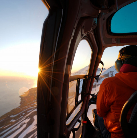 Heli Skiing in the Midnight Sun with Arctic Heli Skiing